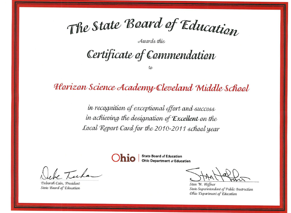 Certificate Of Commendation Horizon Science Academy Cleveland